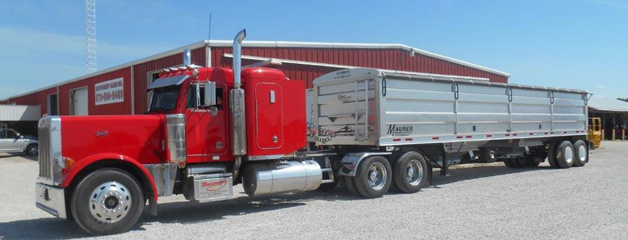 Red Peterbilt Semi with Trailer