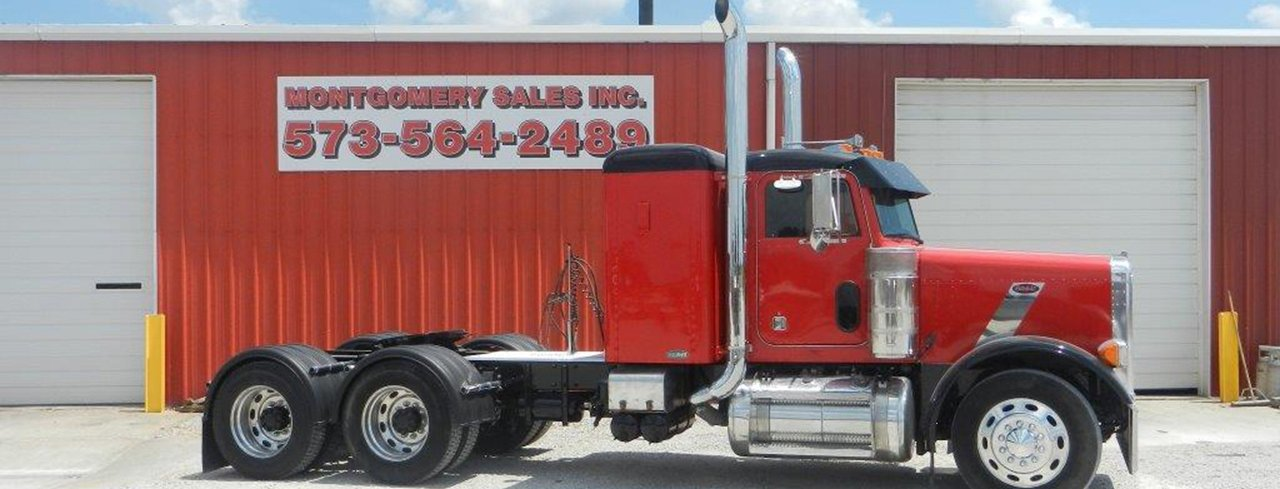Red Peterbilt Semi with Aftermarket Parts